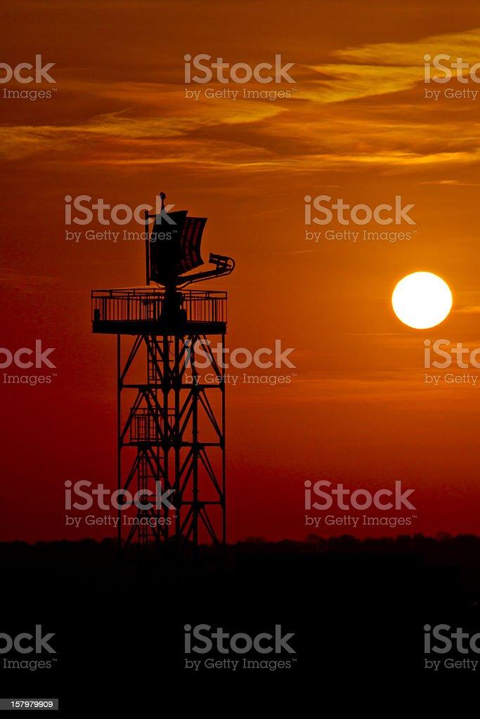 Airport radar tower at sunset royalty-free stock photo