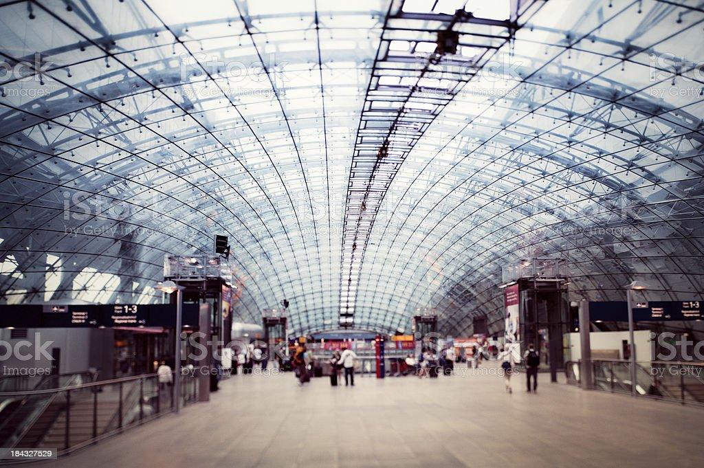 Airport railway station stock photo