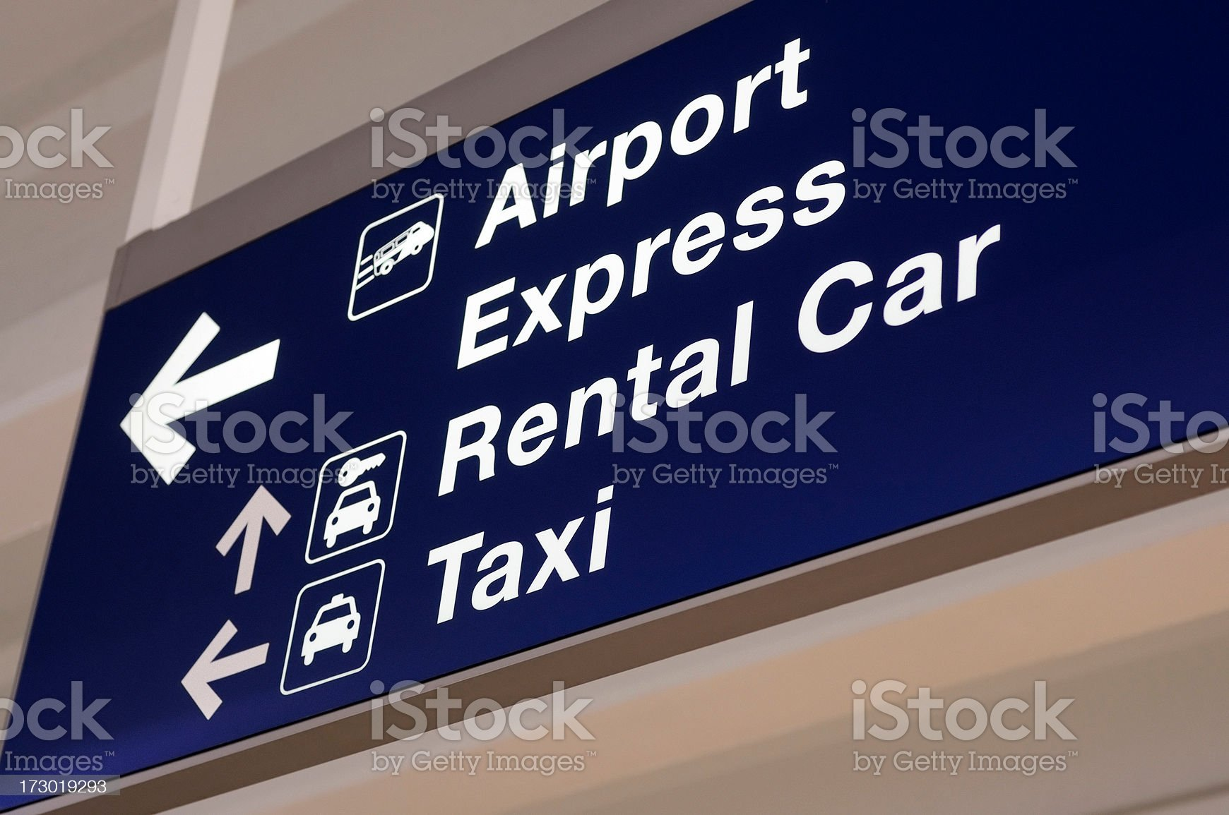 Airport Rental Car and Taxi Directional Overhead Sign royalty-free stock photo