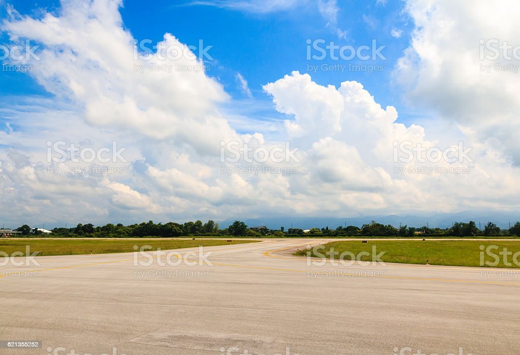 Airport Runway Beautiful Blue Sky with Clouds stock photo