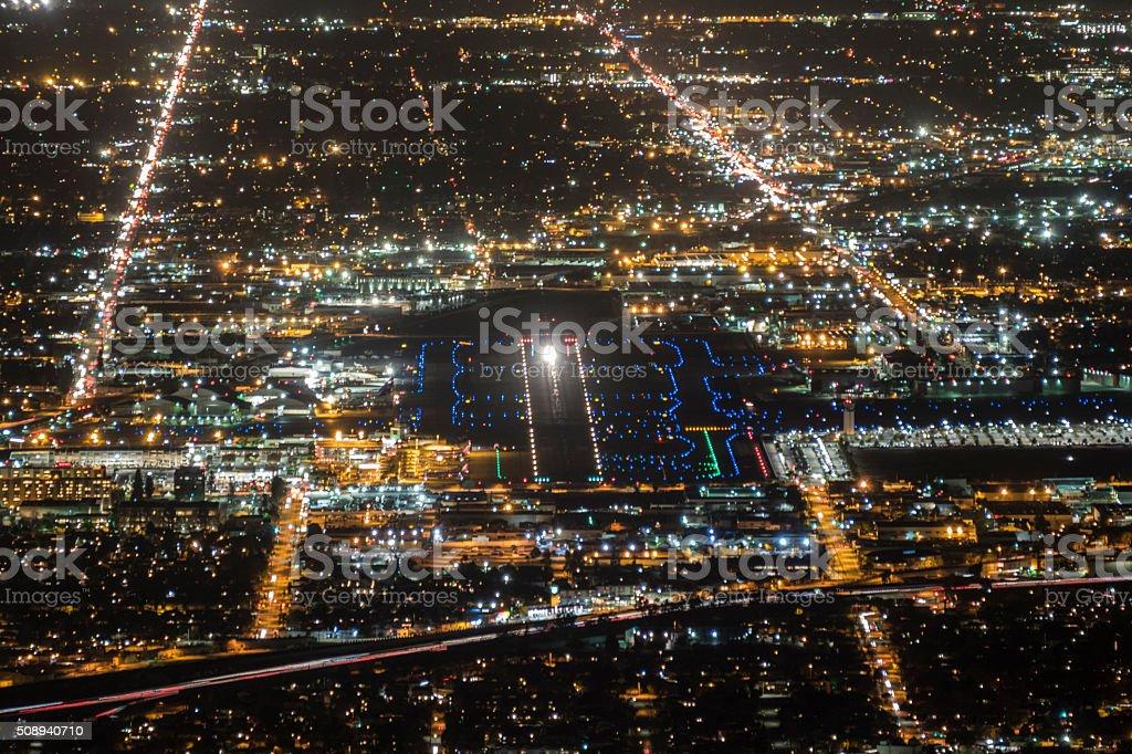 Airport Runway Night Aerial stock photo