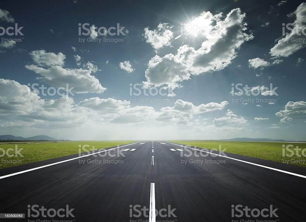 airport runway on a sunny day stock photo