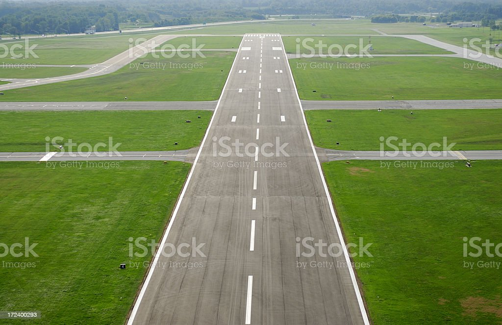 Airport runway on approach. royalty-free stock photo