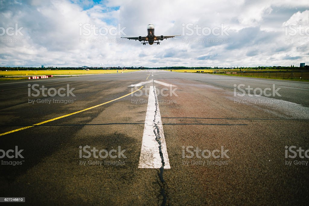 Airport runway stock photo