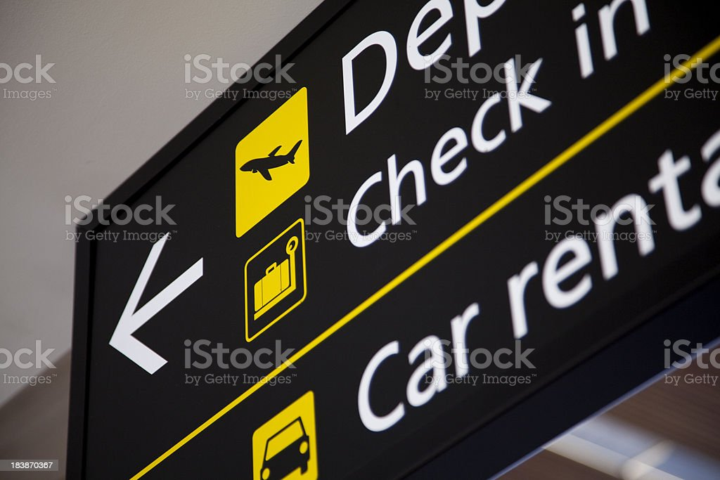 Airport scene, check in sign royalty-free stock photo