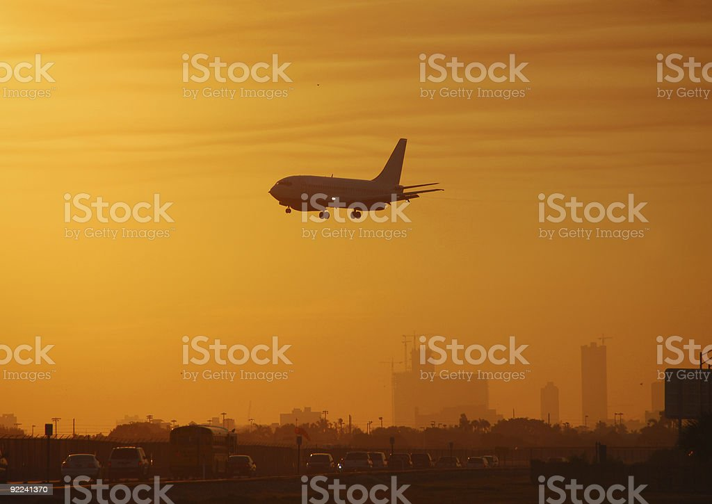 Airport scenery at dawn royalty-free stock photo