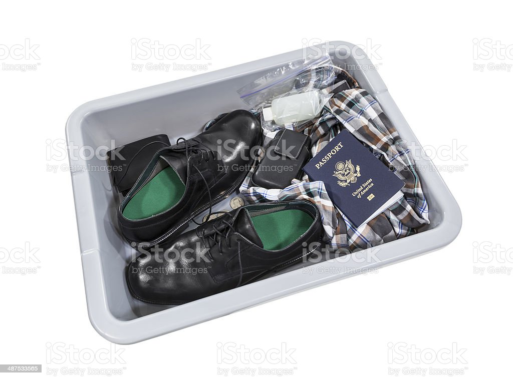 Airport Screening Security Tray stock photo