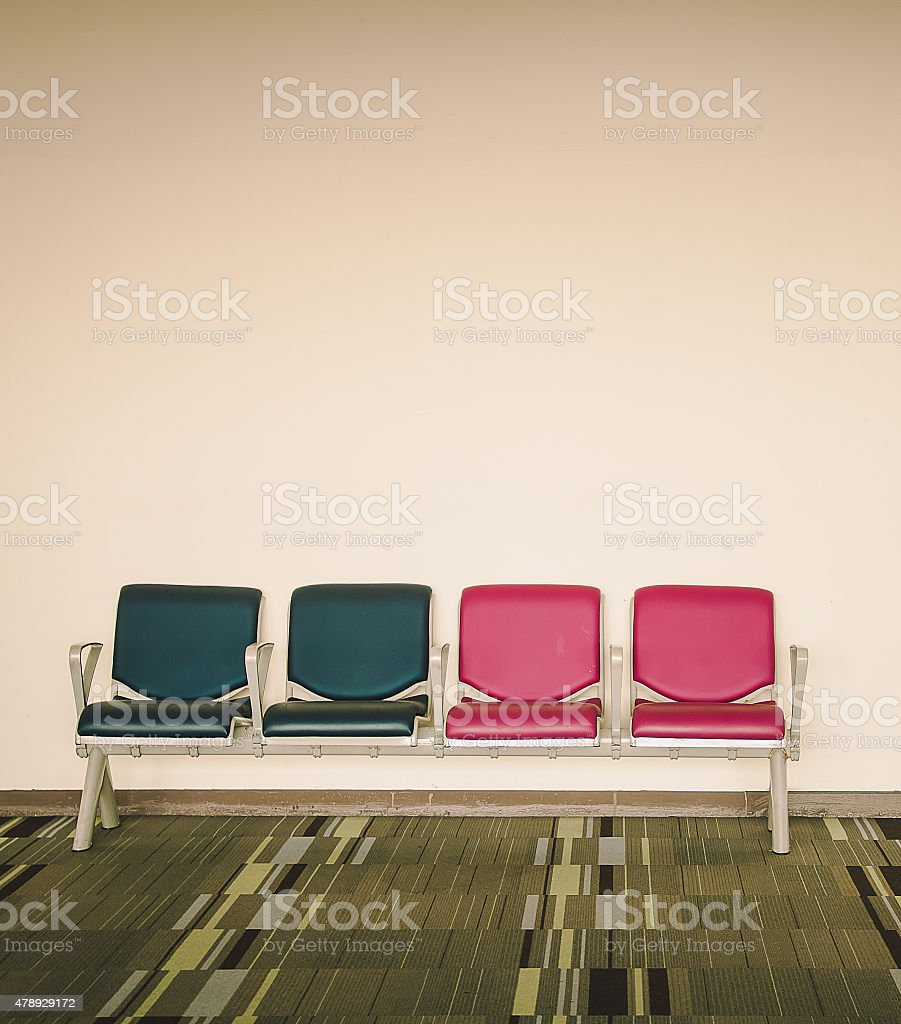 airport seats at the airport, chair in Vintage stock photo