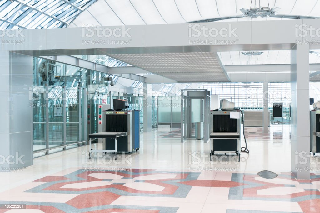 Airport Security Check Point, Luggage And Body Scanner stock photo