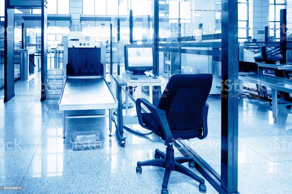 Airport security equipment stock photo