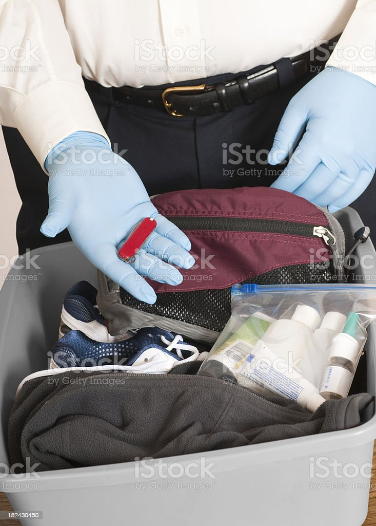 Airport Security Finds a Knife stock photo