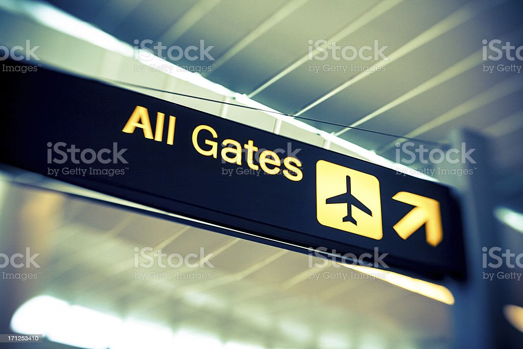 Airport sign - All Gates royalty-free stock photo