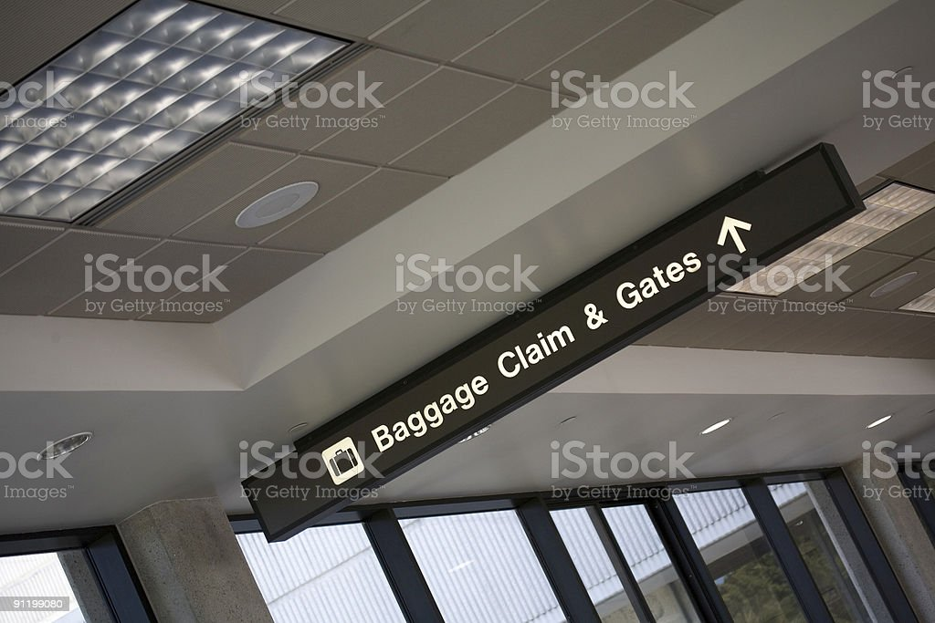 Airport sign, baggage claim & gates royalty-free stock photo