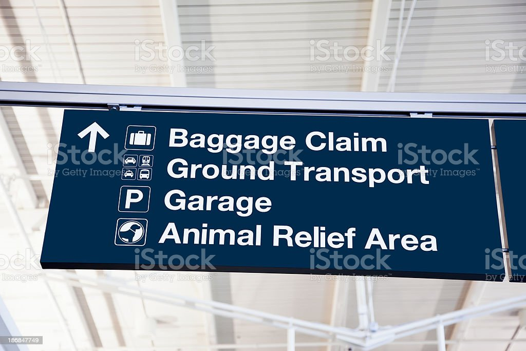 Airport Sign - Baggage Claim, Ground Transport, Garage, Animal Relief stock photo