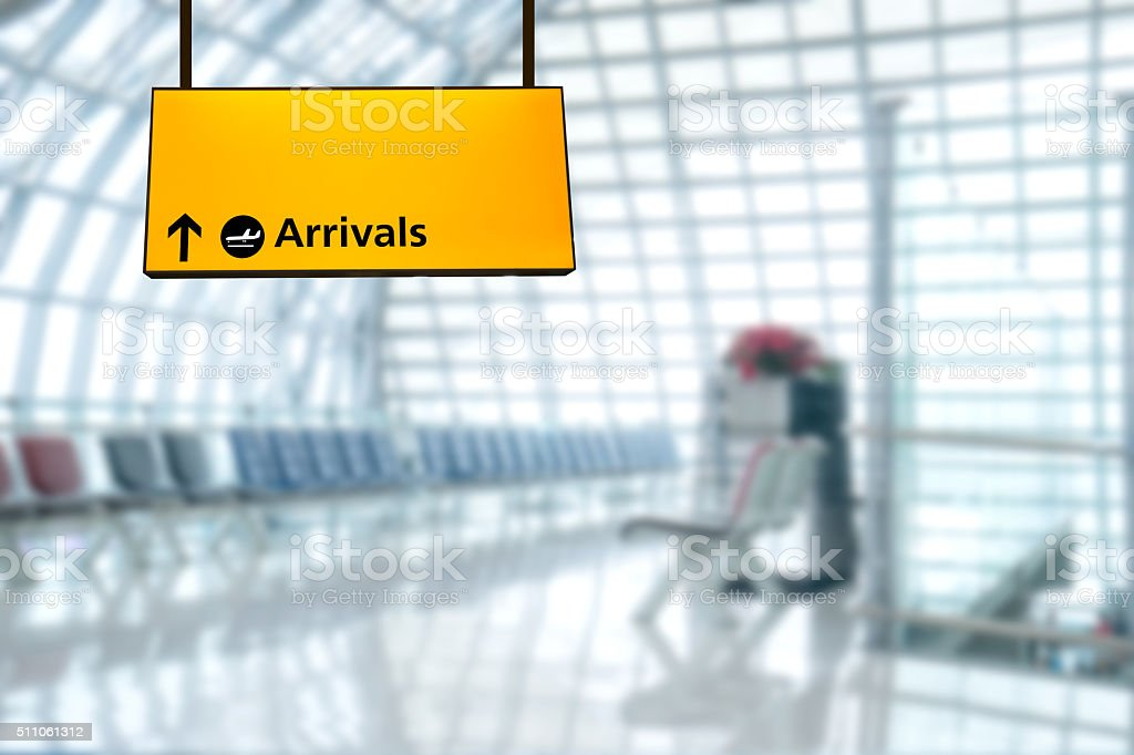 Airport sign deporture and arrival board stock photo