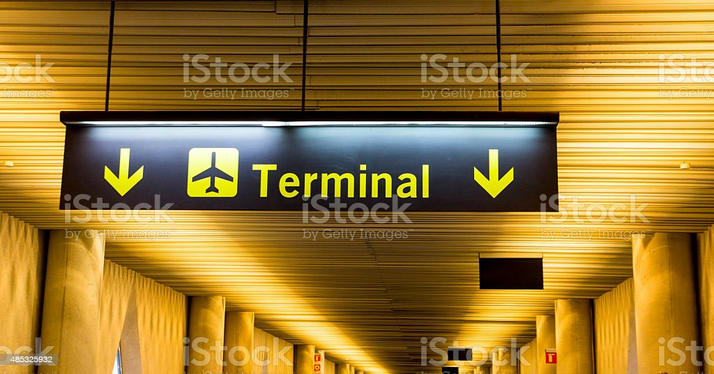 Airport Sign Directing Passengers to the Terminal Building royalty-free stock photo