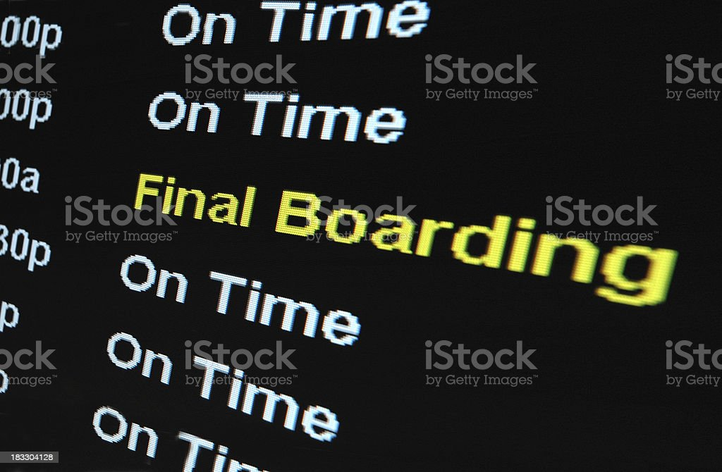 Airport Sign - Final Boarding royalty-free stock photo