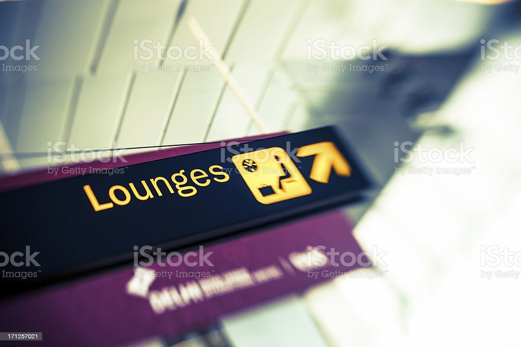 Airport sign - Lounges stock photo