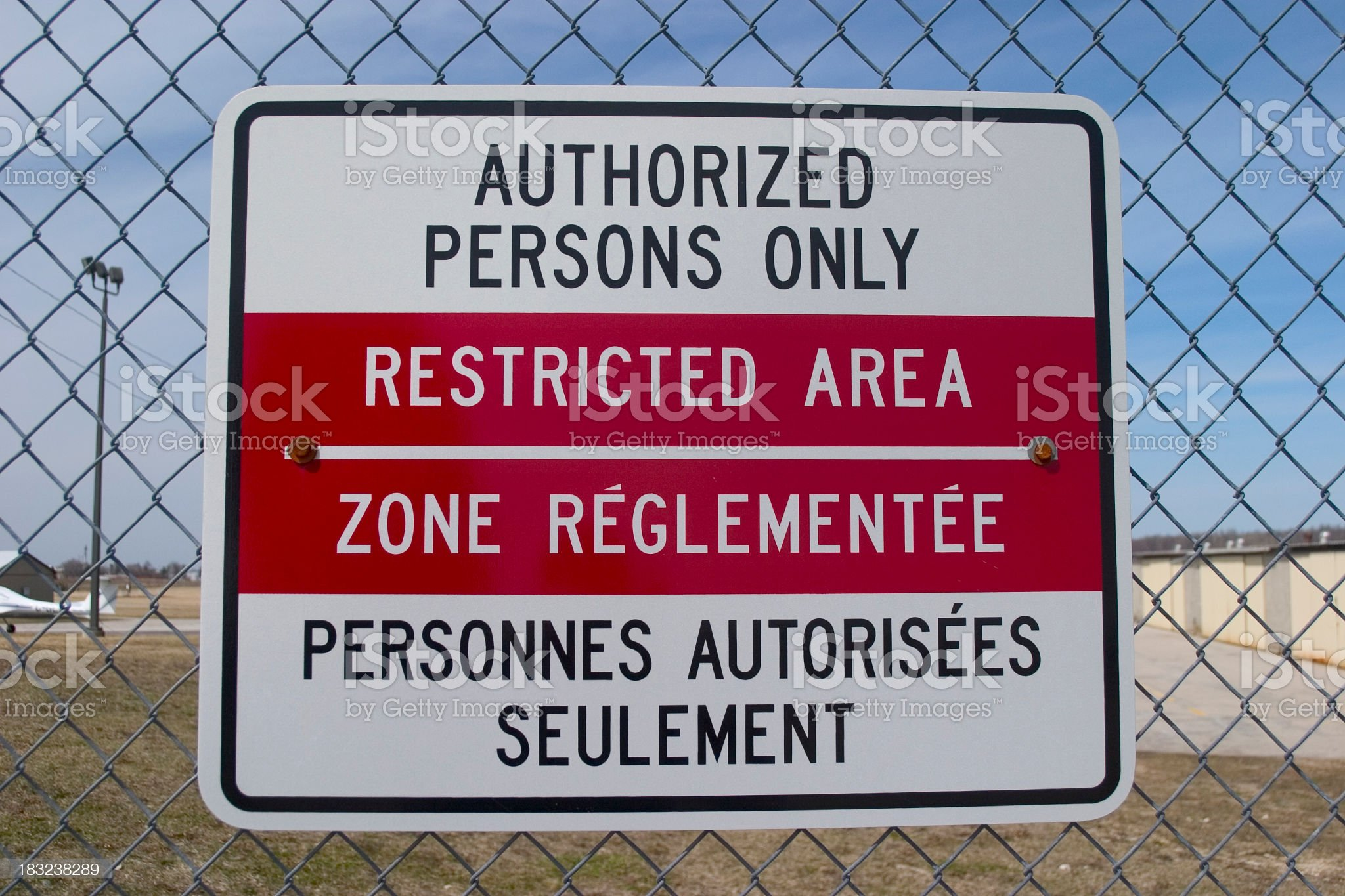 Airport Sign On Fence royalty-free stock photo