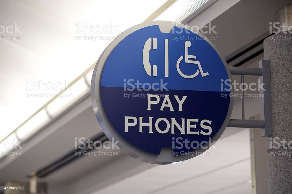 Airport Sign: Pay Phones royalty-free stock photo