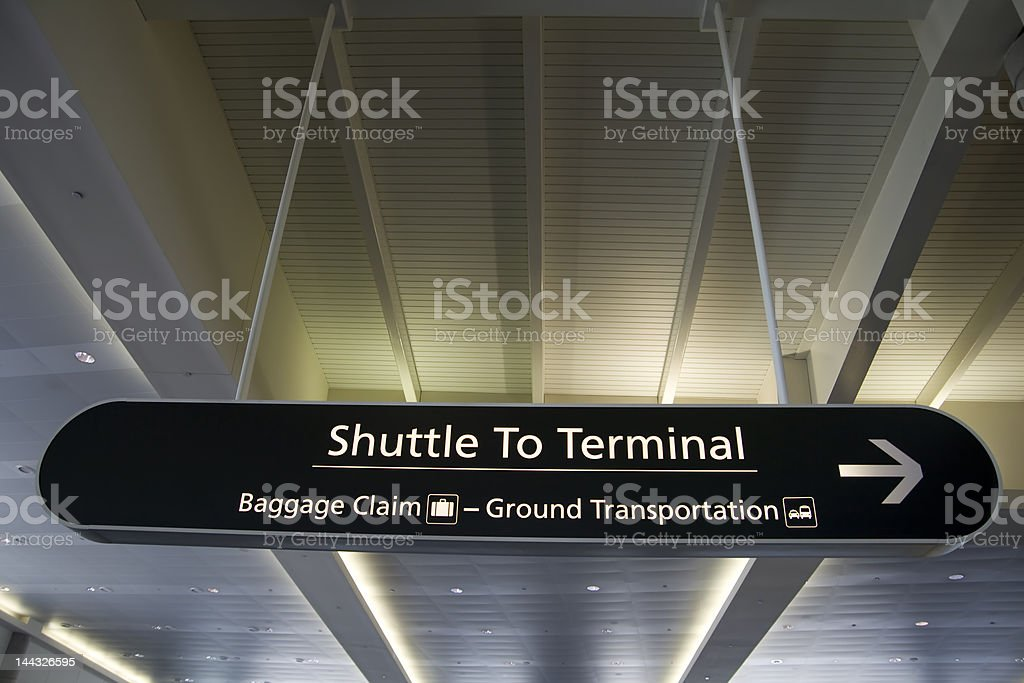 Airport Sign - Shuttle to Terminal stock photo