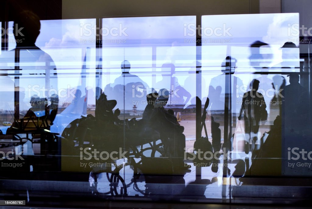 Airport silhouettes royalty-free stock photo