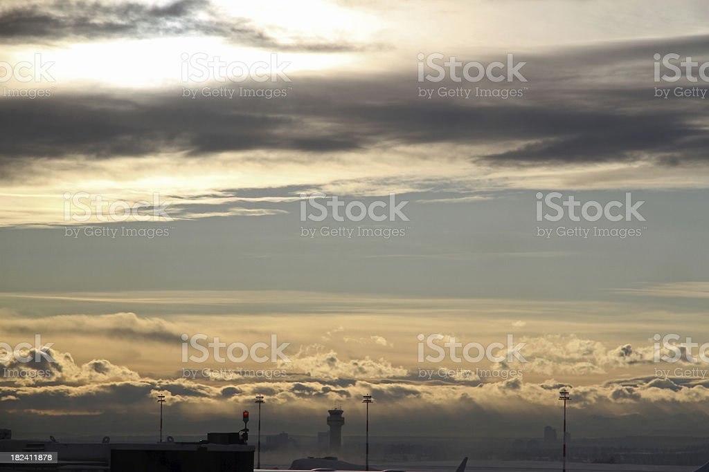 Airport Sunset royalty-free stock photo