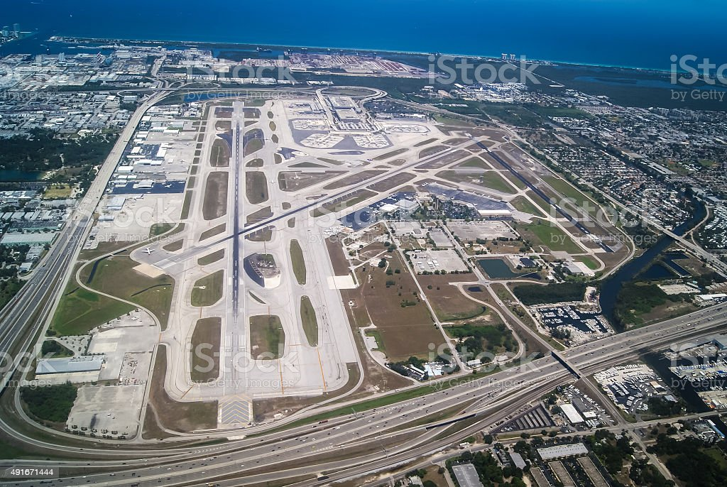 Airport terminal and runways overview stock photo
