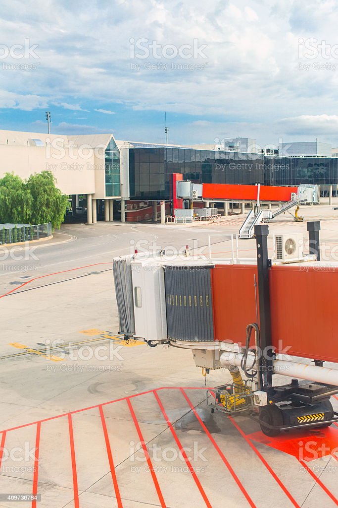 Airport terminal docks. View from outdoors. stock photo