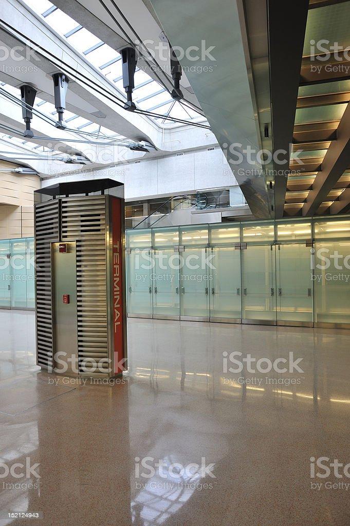 Airport terminal interior stock photo