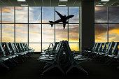 Airport terminal passeger waiting