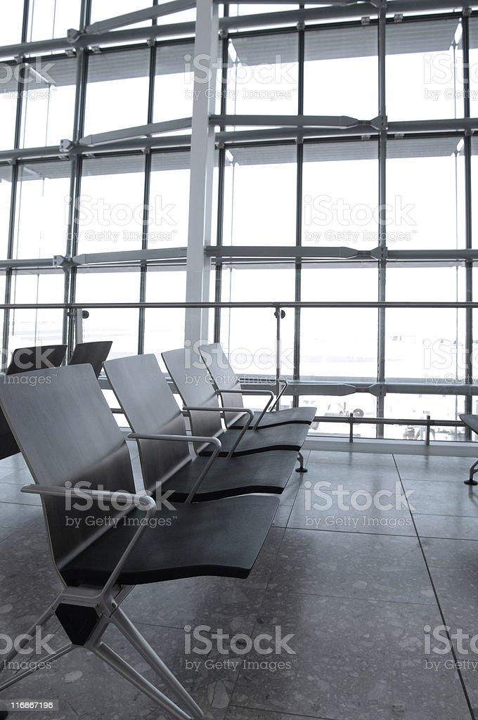 Airport terminal seating stock photo