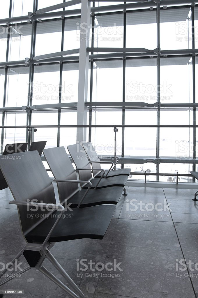 Airport terminal seating stock photo