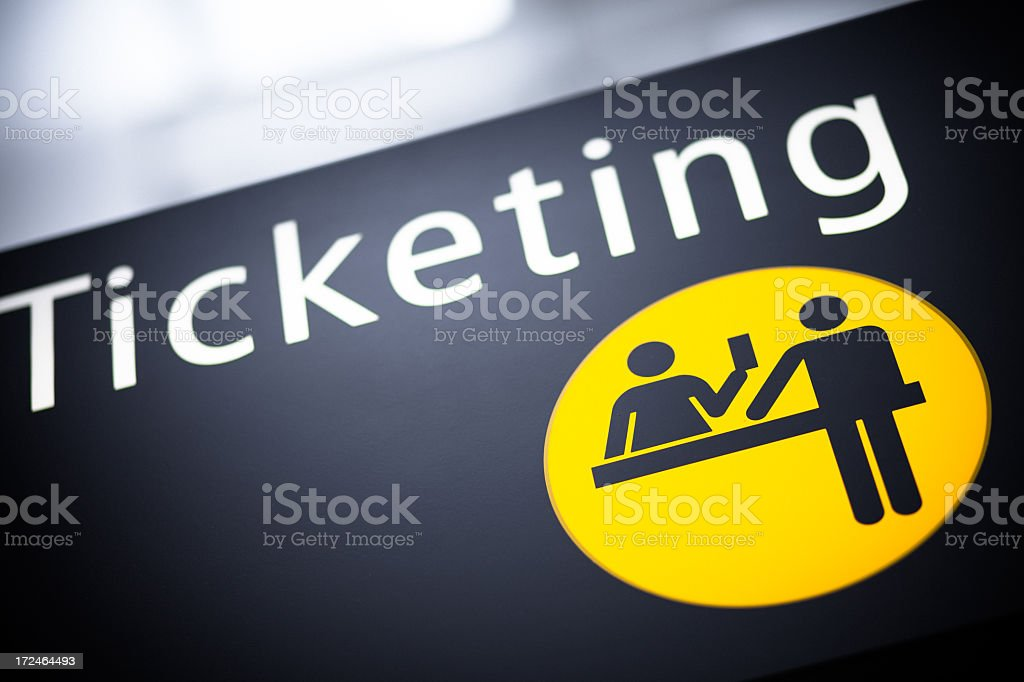 Airport Ticketing Sign royalty-free stock photo