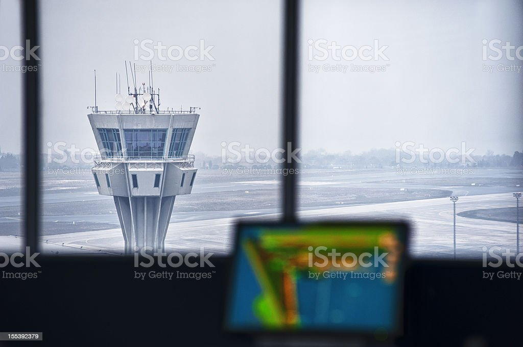 Airport Tower, Interior View stock photo