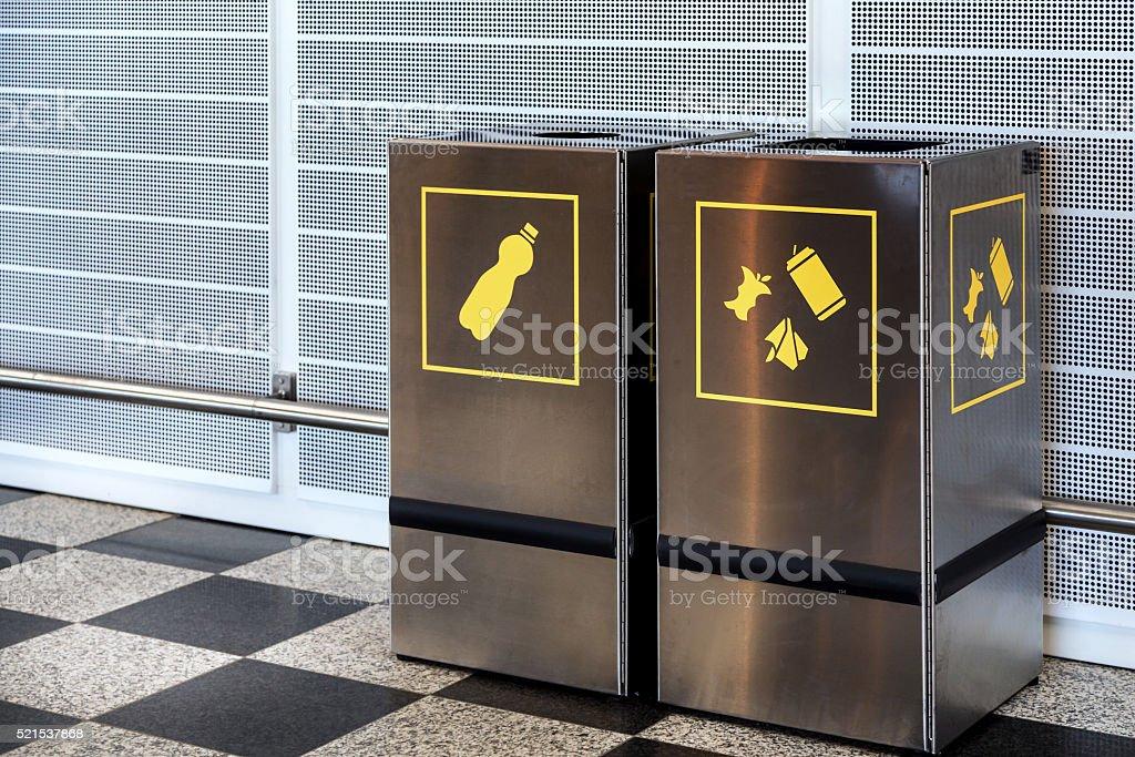 Airport trash bins stock photo