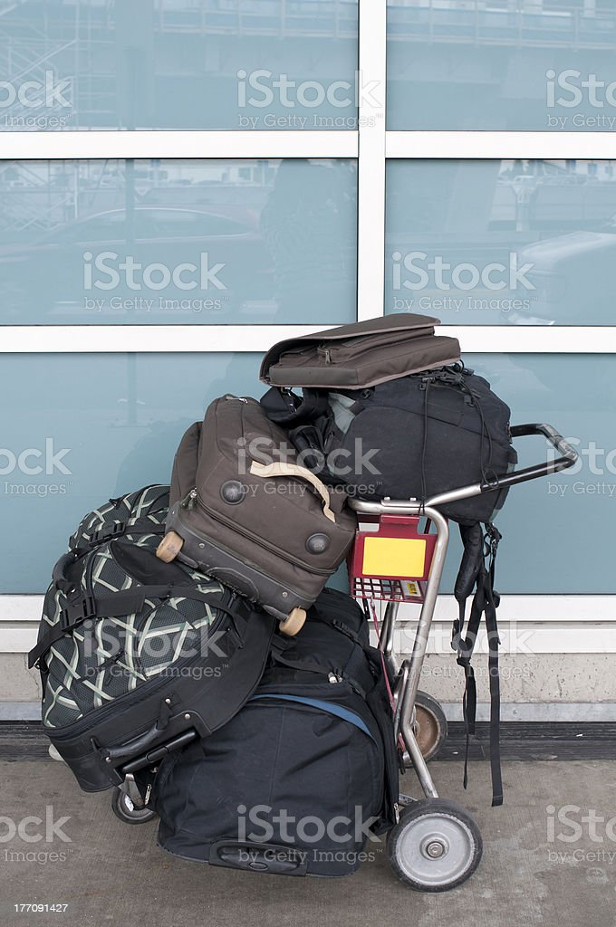 airport trolley stock photo