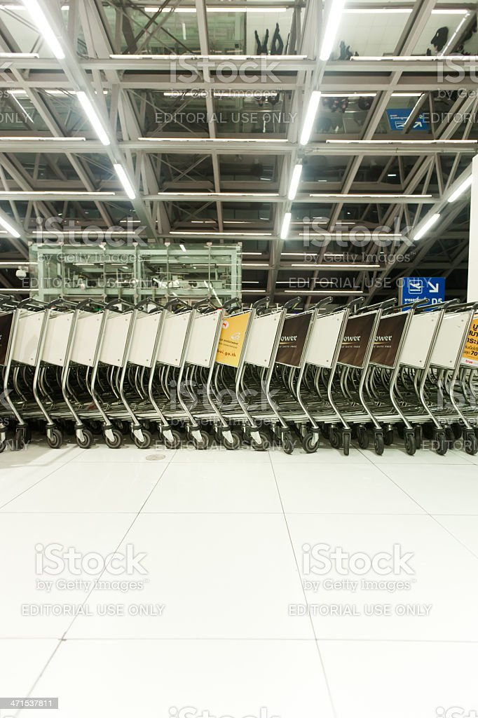 Airport trolleys royalty-free stock photo