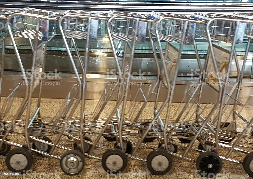 Airport trolleys stock photo