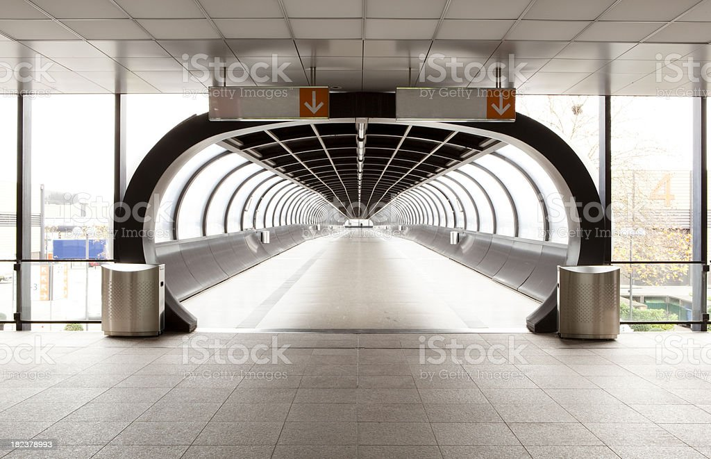 Airport tunnel stock photo