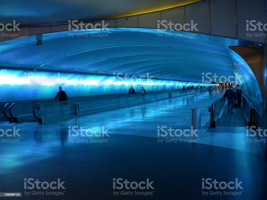 Airport Tunnel Walkway in Detroit (DTW) royalty-free stock photo