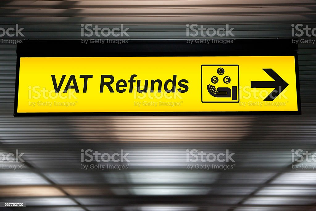 Airport Vat refund and customs sign in terminal at airport stock photo