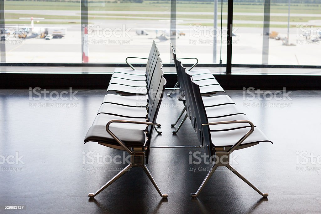 airport waiting area stock photo