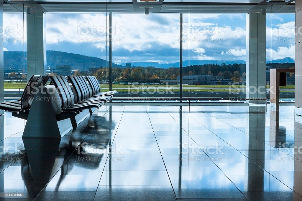 Airport waiting lounge stock photo