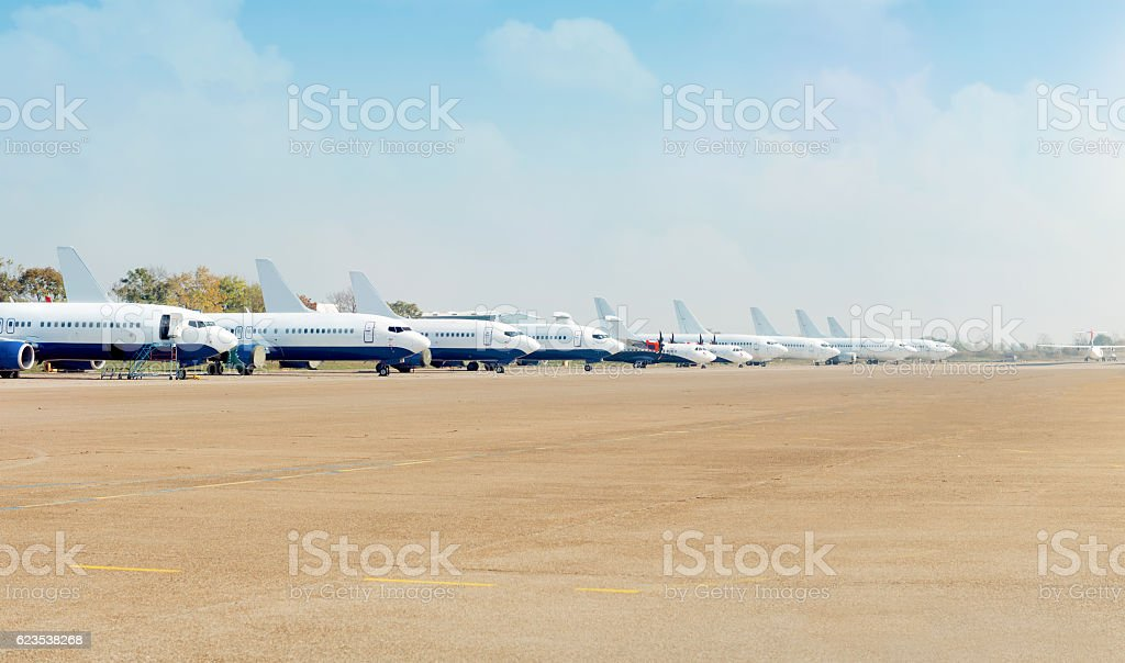 Airport with airplanes stock photo