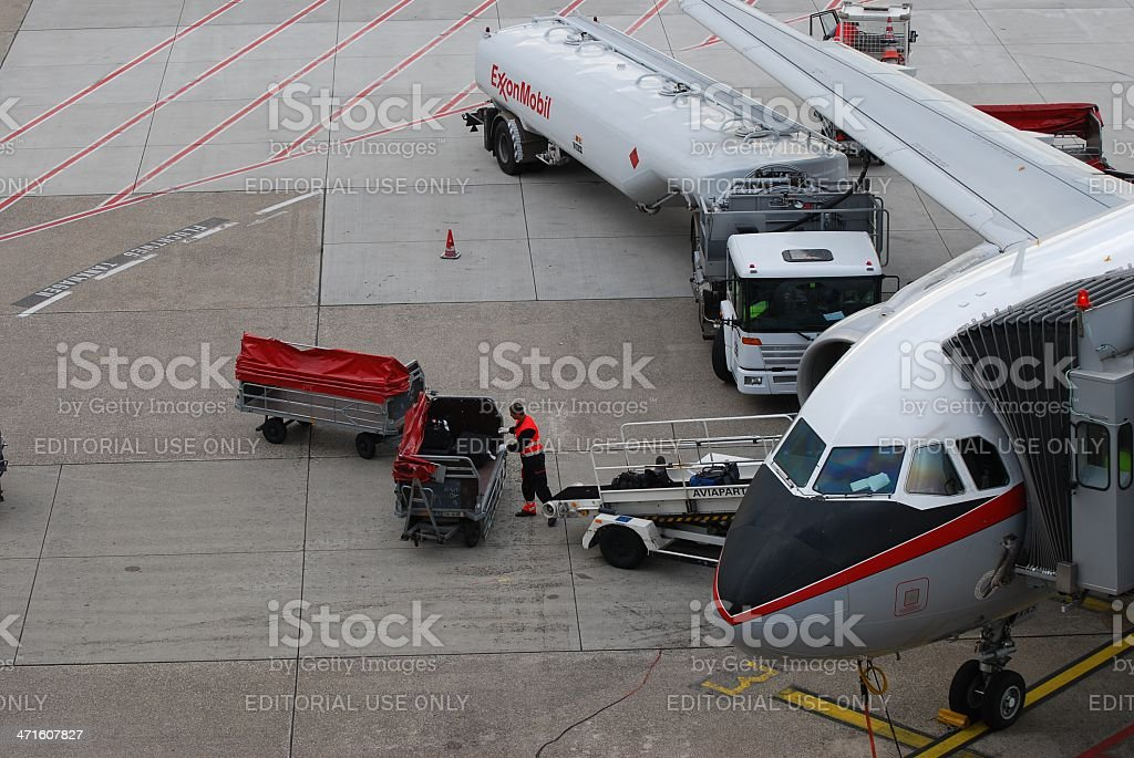 Airport workers stock photo