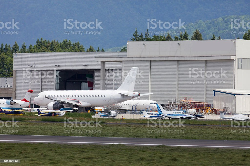 Airport....Commercial airplanes,private jets in airdock royalty-free stock photo