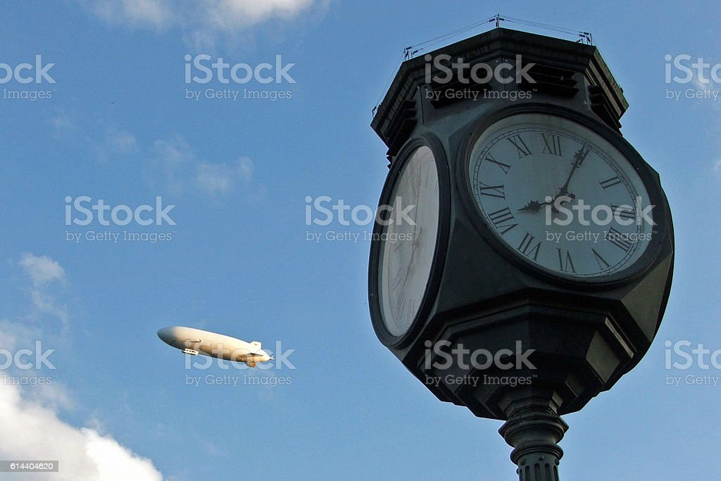 Airship and clock stock photo