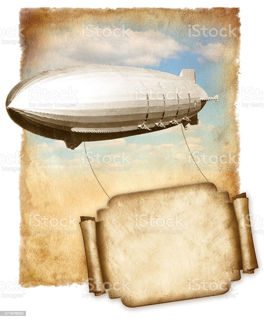 Airship flying banner for text over old paper, vintage graphic. stock photo