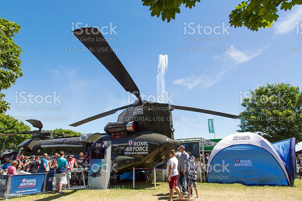 Airshow - RAF Helicopter Exhibit stock photo